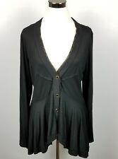 Cha Cha Vente Large Black Button-up Light Asymmetric Peplum Sweater Top