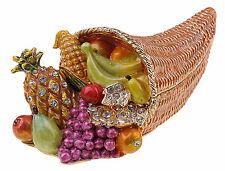 Fruit cornucopia Enamelled Trinket Box Jewelry INCL Necklace & Pendant NIB