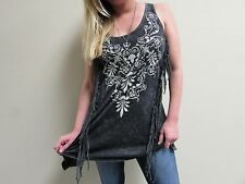NWT USA Women's VOCAL, Soft with Fringe Tank Top Bling, SZ - SMALL
