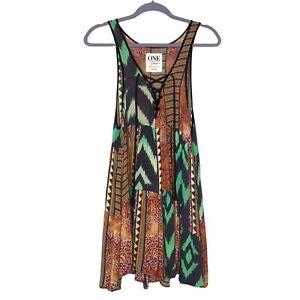 One Teaspoon Boho Patchwork Print Tunic Dress Women's Size Small