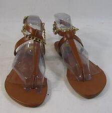 Summer Tan Gold Ankle Bracelet Womens Shoes Roman Gladiator Sandals Size 6.5