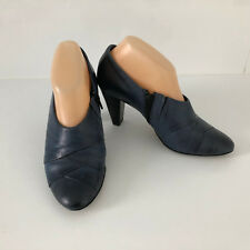 'HOGL' AS NEW SIZE '8' (5.5) SOFT BLUE LEATHER SIDE ZIP & ELASTIC GUSSET SHOES