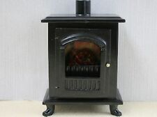 Dolls House Miniature 1/12th Scale Black Wood Burner with Opening Door K58