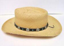 75ad2d44d1f55 VILLAGE HAT SHOP SAN DIEGO ECUADOR COWBOY STRAW HAT WESTERN W CONCHO BAND