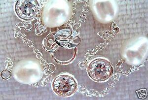 """Italian Sterling Silver .925, CZ & Freshwater Pearl Ankle Bracelet 9""""-9.5"""""""