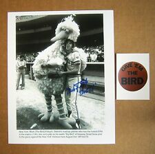 """Mark /""""The Bird/"""" Fidrych /& /""""Big Bird/"""" reprinted autograph from a UPI wire-photo"""