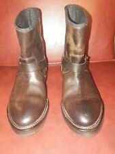$1535 Brunello Cucinelli Leather Distress Brown Boots size 37 Italy
