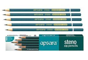 10x Apsara STENO HB Pencil | free sharpener & eraser | Superior quality