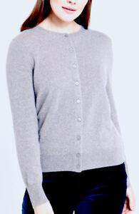 PAUL COSTELLOE *PERFECT* UK10-12 Pure Cashmere Button Through Light Grey Cardiga