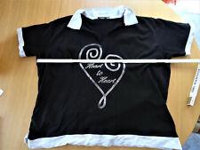Damen Shirt - schwarz weiß - Heart to Heart - Gr. XXL = 48/50