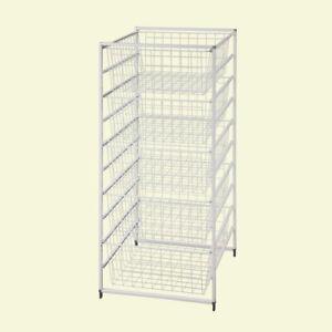 Drawer Kit 41 in. H White 5-Wire Baskets Portable Organizer Storage Vented Racks