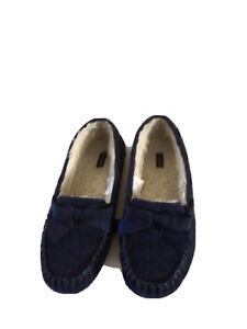 TALBOTS 9M Navy Blue Suede Faux Fux Lined Slippers EUC