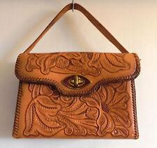 Vintage Hand Tooled Leather Handbag Brown Floral 9x6x3