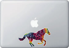 "CLR:MB - Rainbow Tie Dye Horse - Vinyl Macbook Laptop Decal © YYDC (6""w x 3.5""h)"