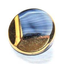gros bouton ancien verre doré et bleu 22mm button
