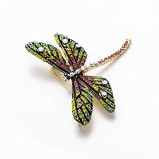Elegant Deluxe Handcrafted Rhinestone and Crystal Large Brooch Pin - Dragonfly