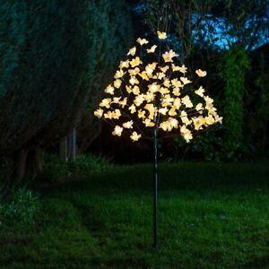 1.2m Solar Pre Lit LED Magnolia Flower Twig Tree Decoration Outdoor 100 LED