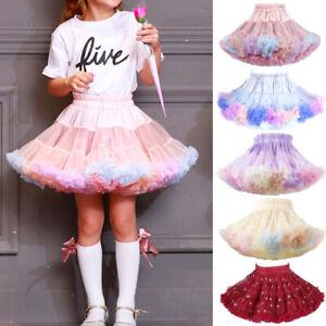 UK Newborn Kids Girls Tutu Skirt Dance Petticoat Party Dress Ballet Fluffy Layer