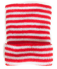 Red and White Striped Knit Boy Newborn Hospital Hat - Baby Beanie