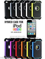 Hybrid Rugged Rubber Matte Dual Case Cover Skin for Apple iPod Touch 4 4th Gen