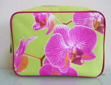 Beautiful New Lime and Pink Orchid Print Wash Bag