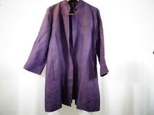 EILEEN FISHER Purple Open Coat Linen Silk Blend Textured Size S Elegant Formal