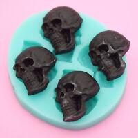 3D Skull Head Chocolate Silicone Mold Cake Fondant Mould DIY Baking Decor Tool