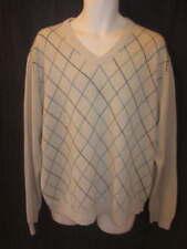 Tasso Elba 100% Cashmere Beige Diamond V-neck Sweater Men's XL