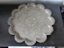MIDDLE EASTERN, SILVER PLATED TRAY, HEAVILLY ENGRAVED, GREAT SHAPE AND STYLE