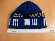 1 USED Doctor Who BAD WOLF Tardis & Police Box Hand Knitted Hat VGUC