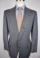 1970's Southwick Gray Herringbone Wool 3/2 Roll Two Piece Suit Size: 40R