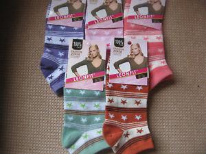 Ladies cotton blend trainer socks/liners sizes 3-5 , 5-7 by Leonfit stars & stri