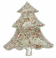 Serving Dish Christmas Tree Speckled Atlantic Mold Divided Ceramic Vntg MCM
