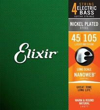 Elixir Electric Bass Nickel Plated Steel 4 String Medium with Nanoweb 14077