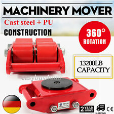 6T Heavy Duty Industrial Machinery Mover w/ 360°Rotation Cap 13200LB Swivel Top