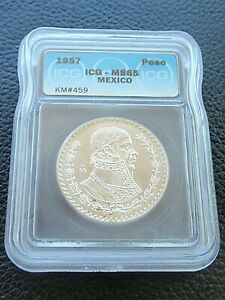 Mexico 1 Peso 1957 MS65 ICG GRADED Silver KM#459 PRETTY COIN AND FREE SHIPPIING!