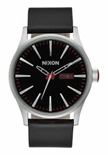 **BRAND NEW** NIXON THE SENTRY LEATHER WATCH BLACK A105000 FREE SHIPPING IN USA!