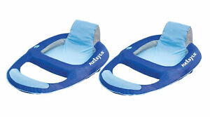 Kelsyus 80014 Floating Pool Lounger Inflatable Chair w/ Cup Holder Blue (2 Pack)