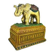 "VTG 1998 Elephant Shaped Jewelry Trinket  Box Stash Decor Storage Heavy 6.25"""