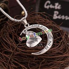 Collana catena nuova delle donne di cristallo strass argento placcato cuore