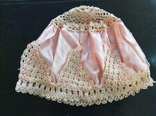 Antique Pink Satin With Crochet Sleeping Cap Handmade