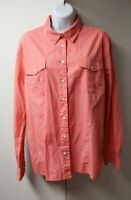 Tommy Hilfiger Women's Long Sleeve Cotton Top Pink Button Down Shirt Size XL