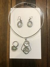 Jewelry Set, Necklace, Dangle Earrings, Ring, Clear Glass