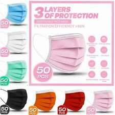 50 Pc3 Ply Layer Disposable Face Mask Dust Filter Safety Pink White Blue Black