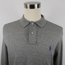Polo Ralph Lauren Mens Soft Cotton Long Sleeve Heather Gray Polo Shirt Large
