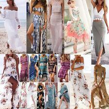 Donna Estate Vintage Boho Vestito Lungo Abito Maxi Party Sera Spiaggia Floreale
