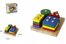 Gioco Legno 4 Colonne 16Pz Bambino Didattico Educativo Forme Puzzle Incastro dfh