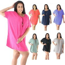 New Lagenlook Quirky Boho Jersey Soft Cotton Stretch Tunic Dress Size 10 - 24