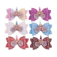 Girls Hairpin Bowknot Barrette Glitter Unicorn Hair Clips Kids Bow Hairpins Hot