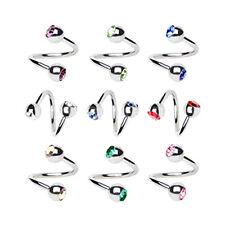 Pair Surgical Steel +Gem Spiral Helix Ear Stud Lip Ring Earring Piercing Jewelry